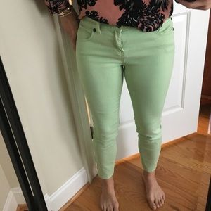 Free People mint green crop jeans side zip